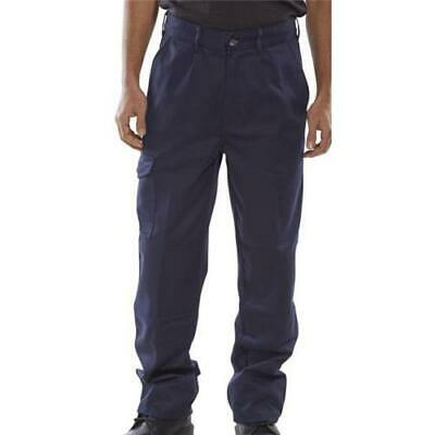 Click Heavyweight Drivers Trousers Flap Pockets Navy Blue 32R Ref PCT9N32