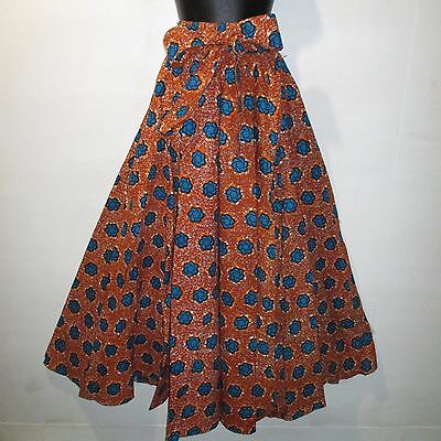 Skirt Fit M L XL 1X 2X Plus Africa Wax Print Ankara Orange Turquoise NWT G317 1E