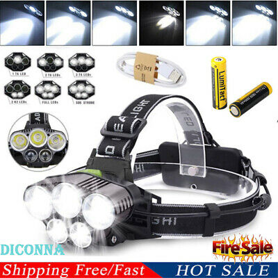 Super-bright 90000LM T6 LED Headlamp Headlight Torch Rechargeable Flashlight #