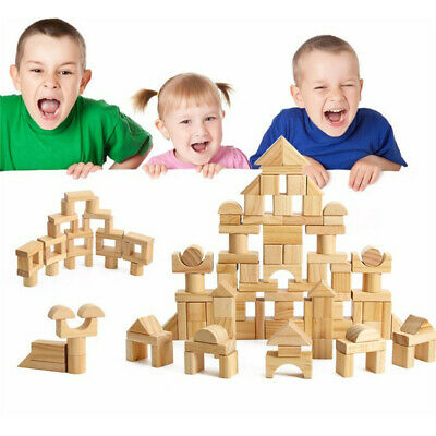 Wooden Building Blocks Kids Toys Set Toy Wood Block Educational Child 8C