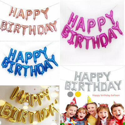 """16""""Self Inflating Happy Birthday Banner Foil Balloon Bunting Gold Letters Decor"""