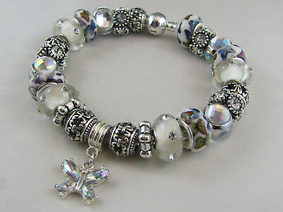 "SILVER BALL CLASP SP 21cm EUROPEAN STYLE CHARM BRACELET ""CRYSTAL BUTTERFLY"""