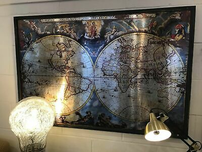 Large Coloured Metal World Map Wall Art Picture - Bedroom Office Maps Home Decor