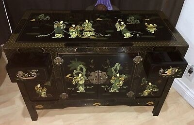 Hand Decorated Black Lacquer Cabinet Geisha Landscape Chinoiserie Wood Commode