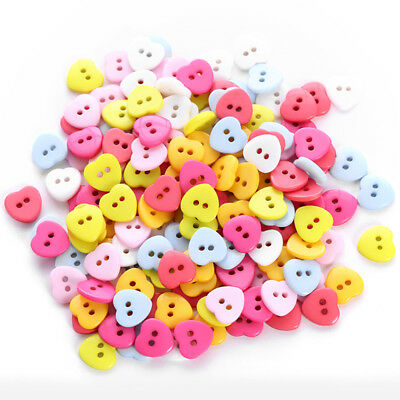 24pcs/Bag Heart Mixed Colors Resin Buttons Fit Sewing or Scrapbooking D Io