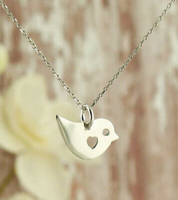 Cute Bird Necklace Cutout Heart 925 Sterling Silver Bird Lover Gift Dainty wh119