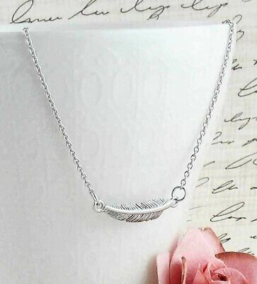 Sideways Feather Necklace 925 Sterling Silver Delicate Dainty Detailed wh36