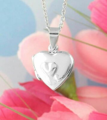 Tiny Heart Locket Necklace Two Hearts Cute Dainty 925 Sterling Silver wh145