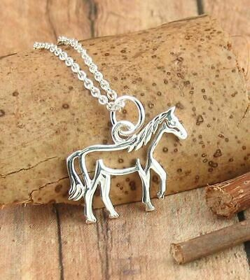 Horse Outline Necklace Sterling Silver Equestrian Equine Horseback Riding wh290