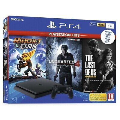Ps4 1Tb + 3 Juegos Ratchet & Clank Uncharted 4 The Last Of Us Playstation 4