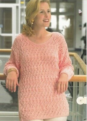 Ladies Knitting Pattern Lacy SWEATER 8 Ply Double Knit Copy