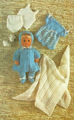 Vintage Baby Dolls Clothes Knitting Pattern Copy  4  & 8 ply