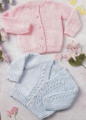 PREMMIE  BABY CARDIGANS Premature Sizes 8 Ply Copy Easy to Knit