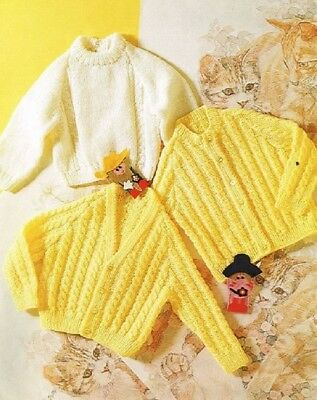 Baby Toddler Knitting Pattern copy Cardigan 2 Styles Sweater 4 Ply