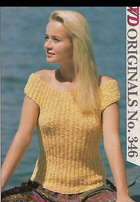Vintage Knitting Ladies Knitting Pattern Copy Ribbed Sweater 8 Ply