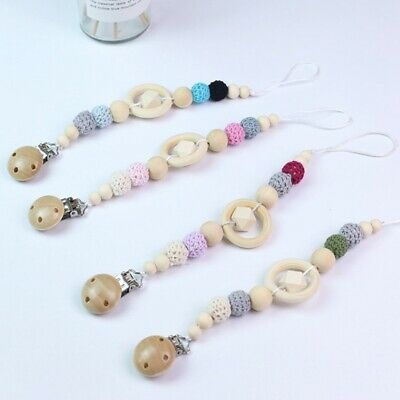 Safety Wood Pacifier Clips Teething Baby Teether Chain Clip Bead Holders