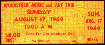 Woodstock Festival Repro Concert Day Ticket 17 Aug 1969 Jimi Hendrix Csn&y