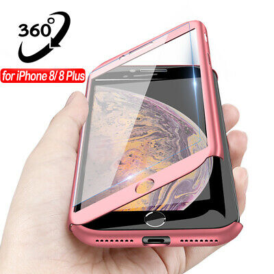 For iPhone 8 Plus Xr Xs Max+Tempered Glass Ultra Slim Phone Case Full Body Cover