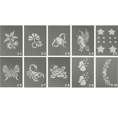 10pc Body Face Paint Stencils Animal Flower Reusable Soft for Birthday Party