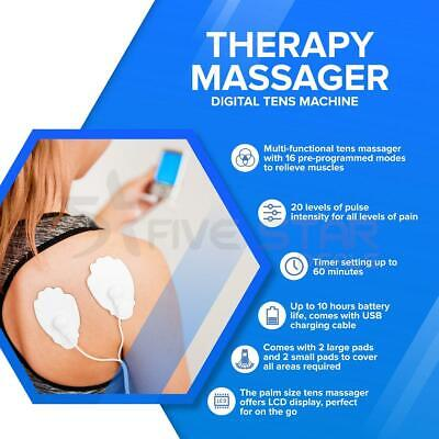 Tens Machine Rechargeable Digital Therapy Full Massager Pain Relief Acupuncture