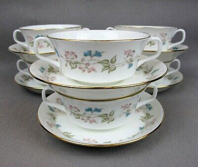 Stunning vintage set of 6 Minton FRAGRANCE S715 Cream Soup Bowls Cups & Saucers.