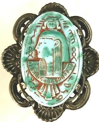 Vintage Egyptian Revival Turquoise Blue Colored Pharaoh Green Enamel Brooch