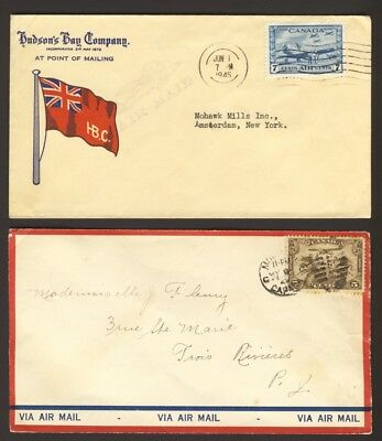 2X AIRMAIL COVERS HBC Flag cover Jun 1/1945 & C1-5c on PO