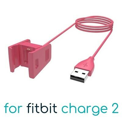 Pink USB Charging Cable for Fitbit Charge 2 Band Bracelet Wristband Charger Lead
