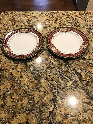 "Set Of 2 Noritake ROYAL HUNT Dinner Plates 10 1/2"" Tartan Plaid Gold Rim"