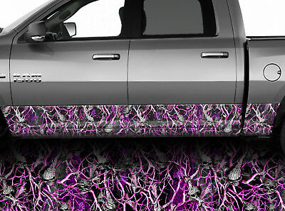 Truck Rocker Panel Vinyl Graphic Wrap Pink Camo Side Decal Camouflage #02