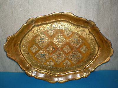 Handmade wooden antique Muslim or Middle East Plate / Tray engraved - 19th c.