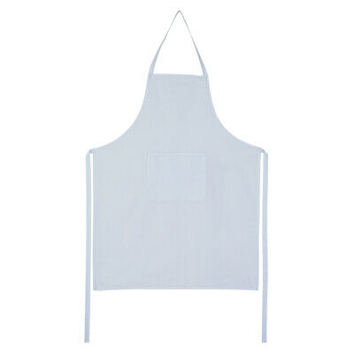 Full White Apron 100% Cotton Catering Cooking BBQ Chef Kitchen with Front Pocket