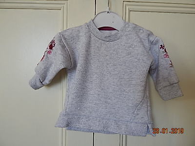 F&f Baby Girls Grey Sweatshirt Top With Floral Decoration Up To 1 Month