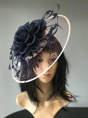 PINK NAVY BLUE WEDDING ASCOT Disc HATINATOR Occasion HAT Mother Of The Bride