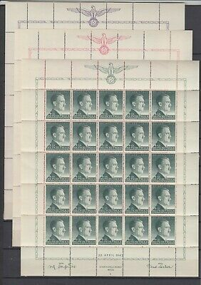 German Occup.Generalgouvernement Full Set of Sheets Mi 101/3 MNH (hinge borders)