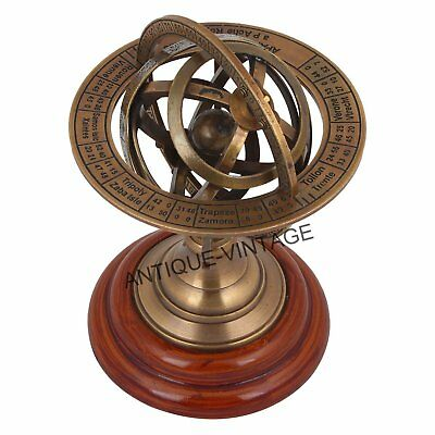 ANTIQUE Brass Sphere Armillary Collectible Nautical Decor Gift