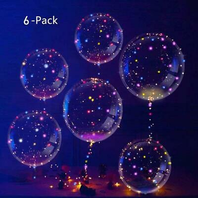 IvyLife Kit de 6pcs Ballons LED Transparent Lumineuse Ballons Bobo en Latex