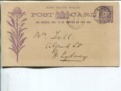 New South Wales 1d postal card, Milson Point 1895, mid fold