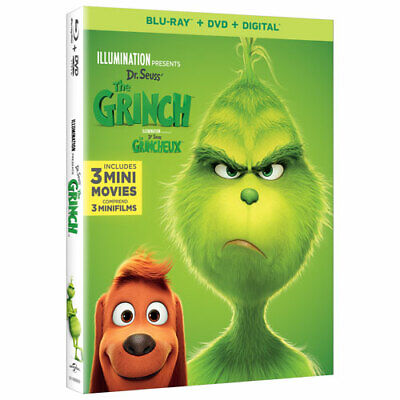 Dr Seuss' The Grinch w/ 3 Mini Movies Blu Ray + DVD + Digital NEW