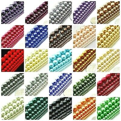 "Glass Pearl Round Spacer Loose Beads 3mm 4mm 6mm 8mm 10mm 12mm 16"" TOP Quality"