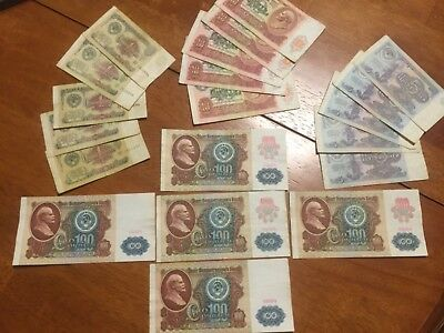 20 pcs Russia 1,5,10,100 Rubles 1991 banknotes circulated