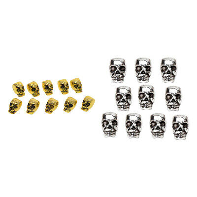 20Pcs Gold Silver Skull Head Spacer Beads Jewelry Bracelet Findings 4mm Hole