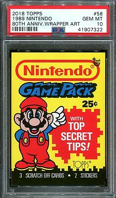 2018 Topps 80th Anniversary Wrapper Art #58 ~ 1989 Nintendo Mario /305 ~ PSA 10