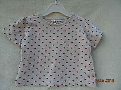 Young Dimension Baby Girls Cream Cotton Top With Red Heart Pattern  18-24 Months