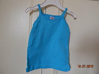 Evie Angel Baby Girls Blue Stretchy Vest Top 12-18 M 100% Cotton
