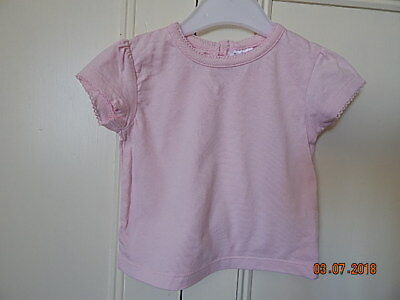 F&f Baby Girls Cute Pink Top 3-6 M Cotton With Decorative Trim