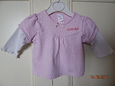 Tu Baby Girls Pink Polka Dot Top 0-3 Months 100% Cotton With White Sleeves