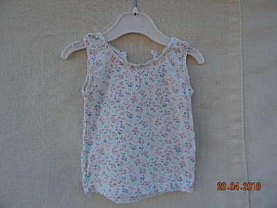 F&f Baby Girls White Floral Fine Rib Stretchy Vest Top 6-9 M 100% Cotton