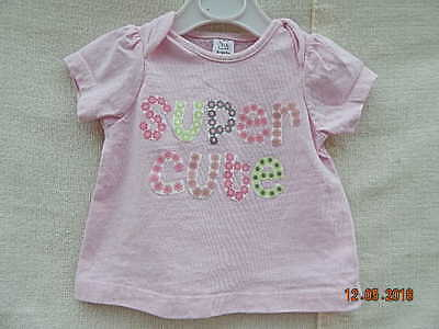 """Tu Baby Girls Pink Top With """"super Cute"""" On Front 0-3 M Cotton"""
