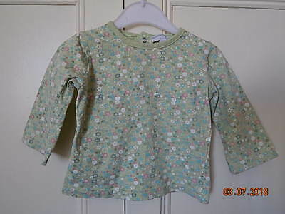 Kimbaloo Baby Girls Cute Green Pink Floral Top 12 M Cotton